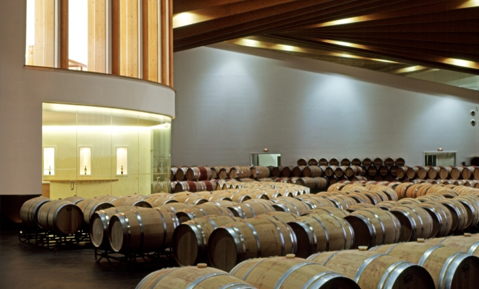 Barrels room in the Ysios wine 2009